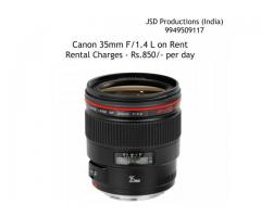 Canon 35mm F/1.4 L Lens on Rent - Lens on Rent - Canon 35mm Rent - Hyderabad