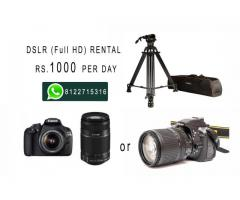 DSLR (21MP / Full HD video) with Tripod Rent at Rs.1000
