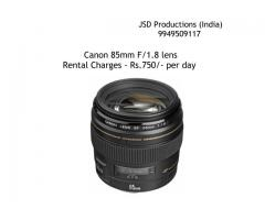 Canon 85mm F/1.8 Lens on Rent - Canon Lenses for Dslrs on Rent - Dslr Lenses