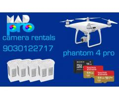 dji phanthom 4 pro with 4 batteries and 64+64+16 Micro SD Cards For RENT