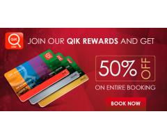 Get 50% Off by Joining QiK Rewards on Entire stay in Hotels